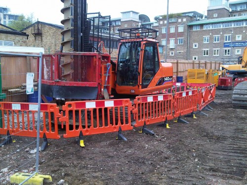 Pre bore in ballast to allow sheet piles to be easily driven; Battersea, London.