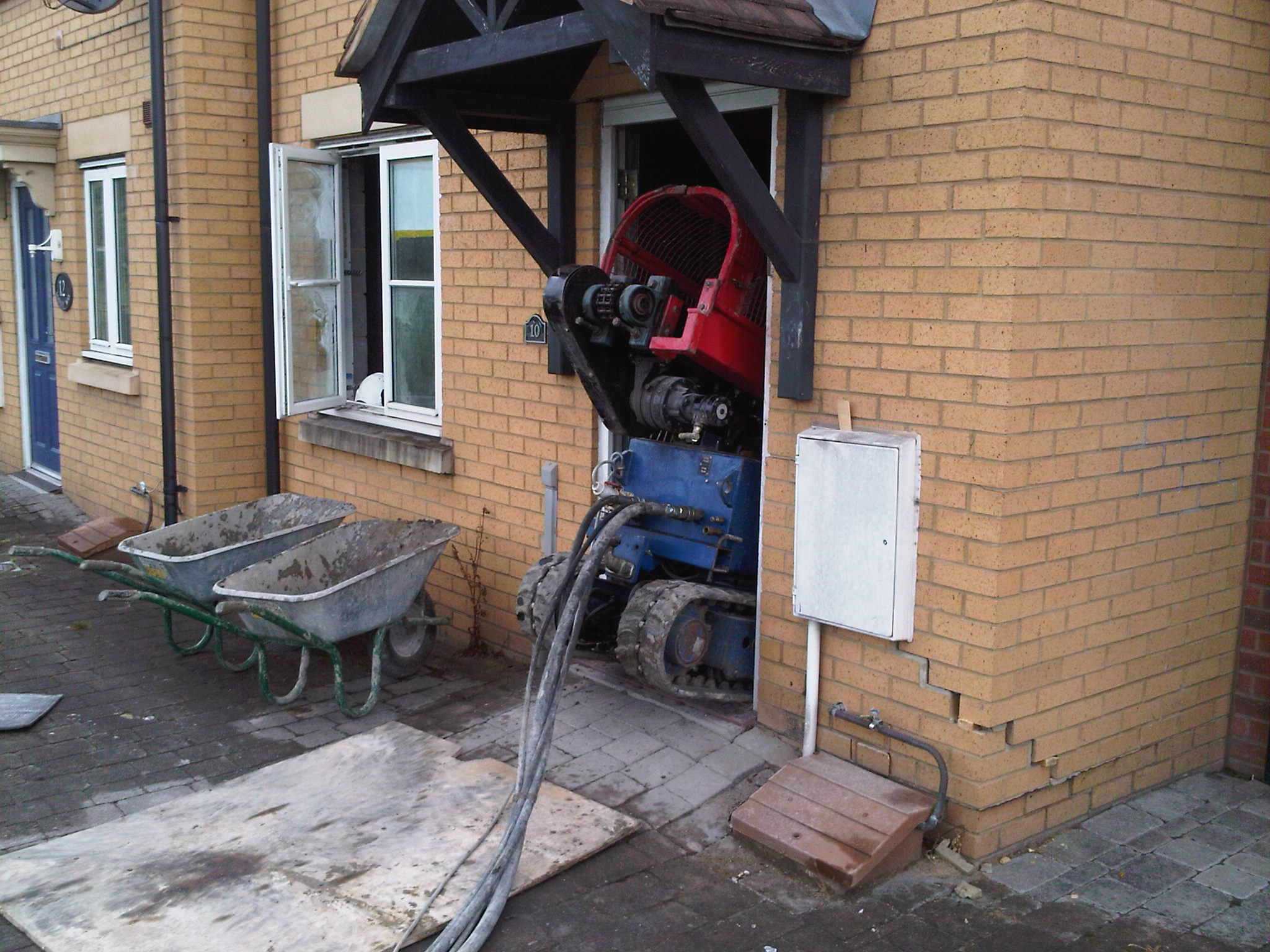 T5000 Rotary Bored Auger Rig being mobilised through a standard doorway.