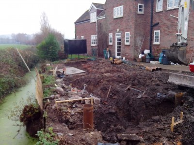 450 x 350mm RC beams being excavated, the ground is unstable and Cordek trench will be used to support sides of the beams.