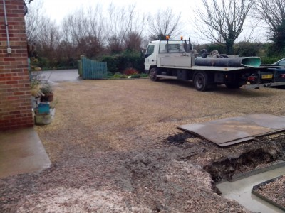 Concrete was pumped from the gateway to the site, and as can be seen from the photo all is left clean and tidy.