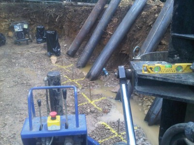 Steel cased bottom driven piles Bath, Somerset.